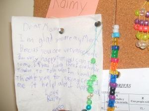 Raimy's corner of my Kids Treasures For Mama buletin board