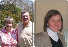 These pictures of my parents and me were taken this year, 2008.